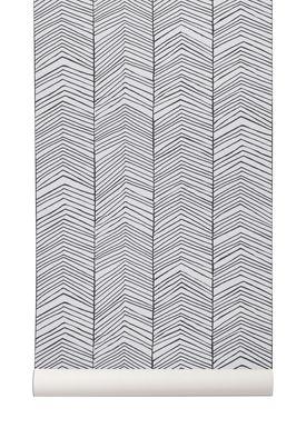 Ferm Living - Tapet - Herringsbone Wallpaper - Sort/Hvid