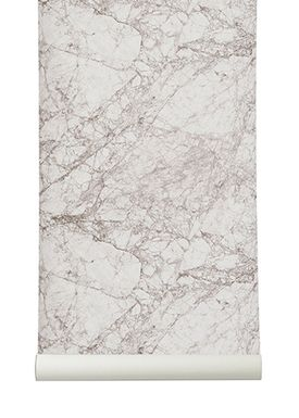 Ferm Living - Tapet - Marble Wallpaper - Grå