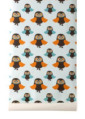 Ferm Living - Tapet - Owls Wallpaper - Lyseblå/Orange
