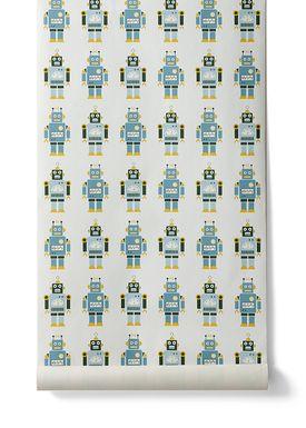 Ferm Living - Tapet - Robots Wallpaper - Creme/Støvet Grøn