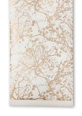 Ferm Living - Tapet - Wilderness Wallpaper - Hvid/Guld