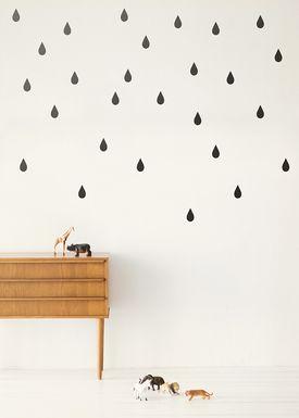 Ferm Living - Wallstickers - Mini Drops Wallsticker - Sort