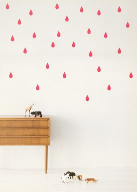 Ferm Living - Wallstickers - Mini Drops Wallsticker - Neon pink
