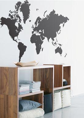 Ferm Living - Wallstickers - World Map Wallstick - Sort