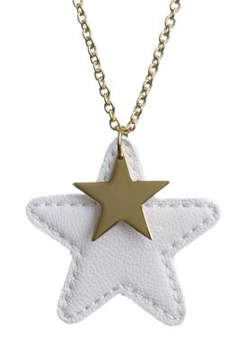 Forrest & Bob - Necklace - Leather Star - Off-white (gold)