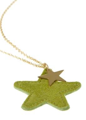 Suede Star Necklace Grøn (Guld)