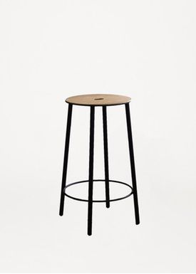 FRAMA - Stol - Adam Stool / R031 / Round - Oak / Matt black / H50
