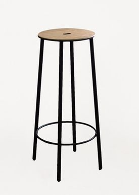 FRAMA - Chair - Adam Stool / R031 / Round - Oak / Matt black / H75