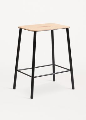 FRAMA - Chair - Adam Stool - Natural Leather / Matt black / H50
