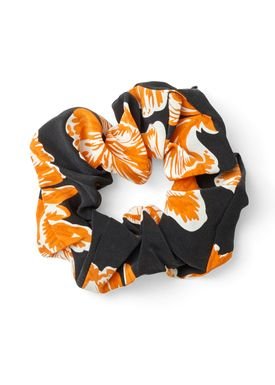 Ganni - Askebæger - Geroux Silk Hair Band - Black/Orange