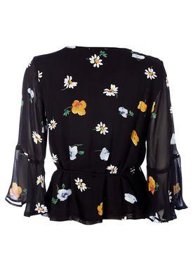 Ganni - Bluse - Dainty Georgette Wrap Blouse - Black