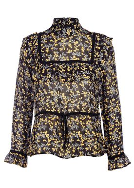 Ganni - Blouse - Marceau Georgette Blouse - Black/Yellow Print