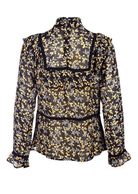 Ganni - Bluse - Marceau Georgette Blouse - Black/Yellow Print