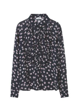 Ganni - Blus - Rometty Georgette Shirt - Total Eclipse