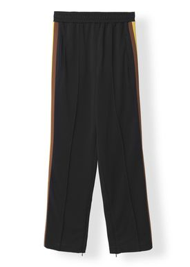 Ganni - Bukser - Dubois Polo Pants - Black w. Stripe