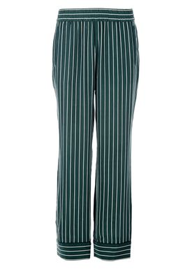 Ganni - Bukser - Elmira Silk Pant - Mørkegrøn m. Strib