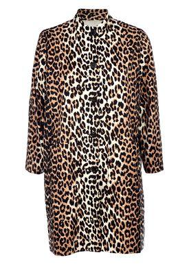 Ganni - Frakke - Fabre Cotton Coat - Leopard Print