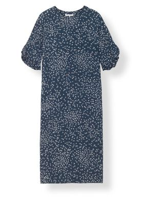 Ganni - Klänning - Barra Crepe Dress - Total Eclipse
