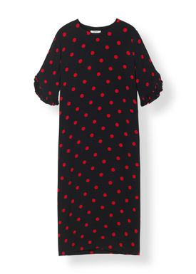 Ganni - Klänning - Barra Crepe Dress - Black/Red Dot