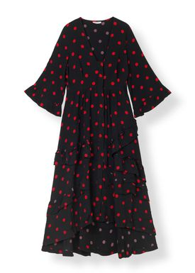 Ganni - Klänning - Barra Long Crepe Dress - Black/Red Dots
