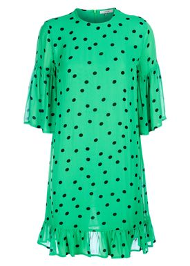 Ganni - Klänning - Dainty Georgette Dress - Classic Green