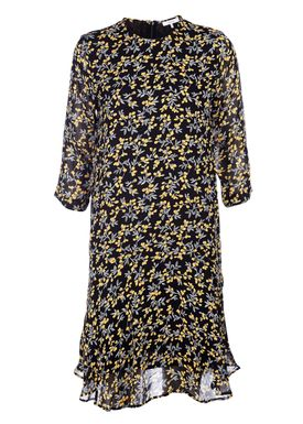 Ganni - Kjole - Marceau Georgette Dress - Black/Yellow Print