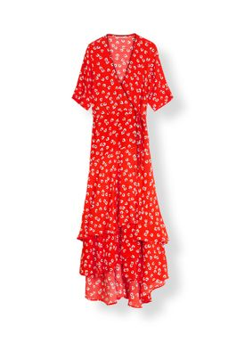 Ganni - Klänning - Silvery Crepe Long Dress - Big Apple Red