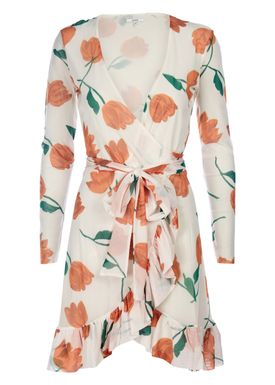 Ganni - Kjole - Tilden Mesh Dress - Vanilla Ice/Orange