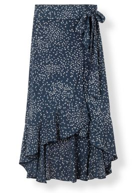 Ganni - Kjol - Barra Crepe Wrap Skirt - Total Eclipse