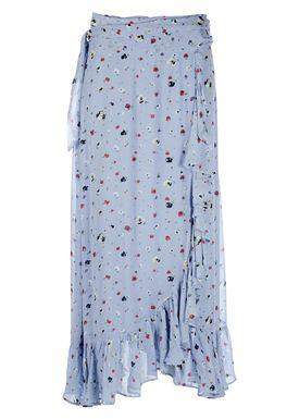 Ganni - Nederdel - Dainty Georgette Long Skirt - Serenity Blue
