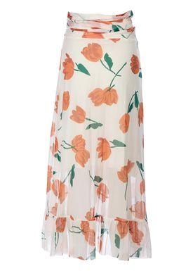 Ganni - Nederdel - Tilden Mesh Skirt - Vanilla Ice/Orange