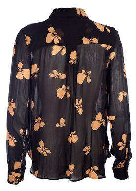 Ganni - Skjorte - Fairfax Shirt - Black/Orange