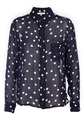 Ganni - Skjorte - Marceau Georgette Shirt - Total Eclipse/White Dots