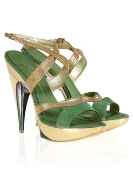 6181 Stilettos Green/Gold