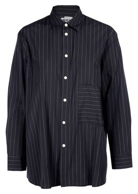 HOPE - Skjorte - Elma Black Shirt - Black/White Pinstripe