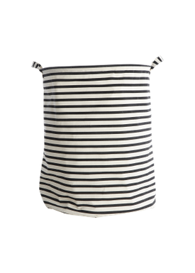 House doctor - Laundry Basket - Stripes Laundry Bag - Black/Offwhite Stripes