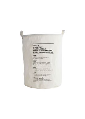 House Doctor - Laundry Basket - Wash Instructions Laundry Bag - Offwhite/Black bottom