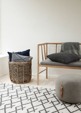 Hübsch - Bänk - Bench w/ Cushion - Oak/Grey