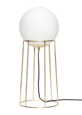 Hübsch - Gulvlampe - Opal Glass Floor Lamp - Small - Brass/Glass
