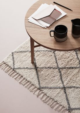 Hübsch - Rug - Cotton Rug w/ Fringes - Small - White/Gray