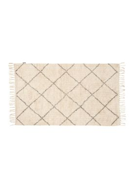 Hübsch - Rug - Cotton Rug w/ Fringes - Large - White/Gray