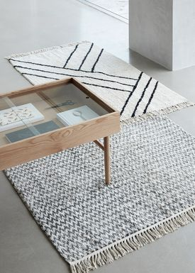 Hübsch - Rug - Large Cotton Rug - White/Grey