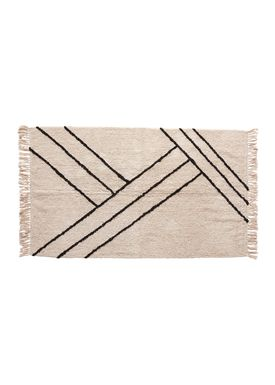 Hübsch - Rug - Woven Artwork Rug - White/Black
