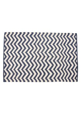 Hübsch - Mattor - Woven Cotton Rug - Blue/White