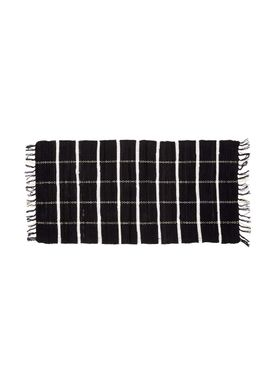Hübsch - Rug - Wowen Cotton w/ Fringes - Black/White
