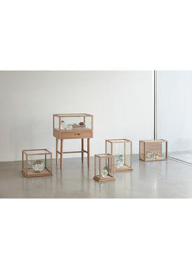 Hübsch - Lådor - Glass Display Box - Low - Oak