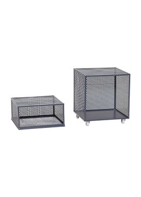 Hübsch - Lådor - Metal Net Storage Box - High - Dark Gray