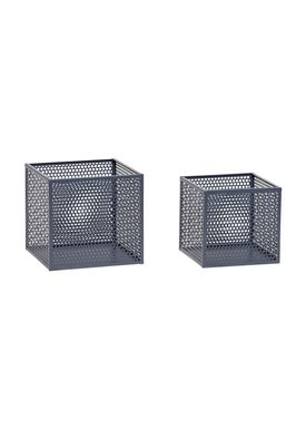 Hübsch - Lådor - Metal Net Storage Box - Small Set - Dark Gray