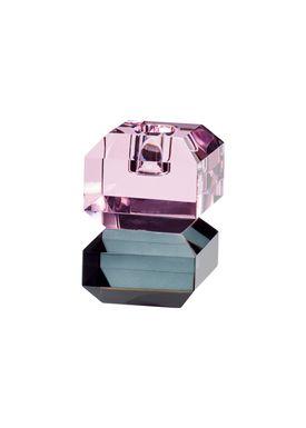 Hübsch - Candlestick - Candleholder Glass - Pink/Smoked