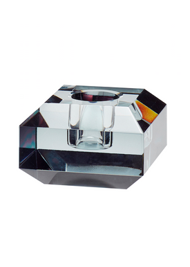 Hübsch - Candlestick - Candleholder Glass - Smoked